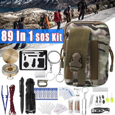 89Pcs SOS Emergency Survival Equipment Outdoor Gear Tools Kit With Tactical Bag (Survival Bag Bundle)