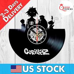 Gorillaz Pop Music LP Vinyl Record Black Wall Clock Art Decor Gift Ideas