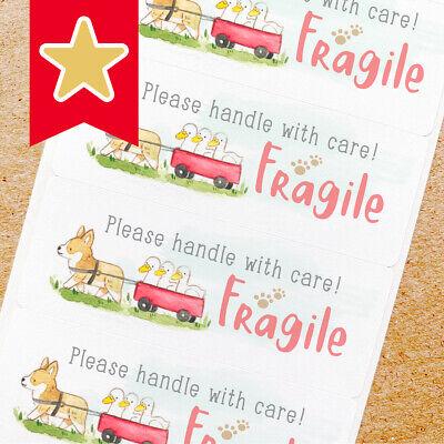 Fragile Labels Stickers For Online Shop Sellers 100ct - Corgi Dog Duck