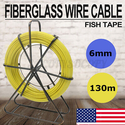 130m 6mm Fish Tape Fiberglass Wire Cable Running Rod Duct Rodder Puller Flexible