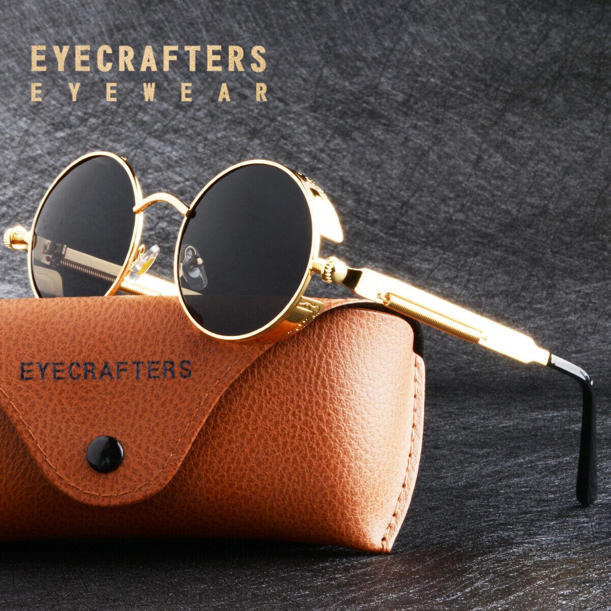 gold metal retro round polarized sunglasses vintage