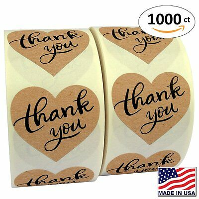 1 5  Heart Shape Kraft Paper Thank You Adhesive Label  1000 Stickers Per Roll
