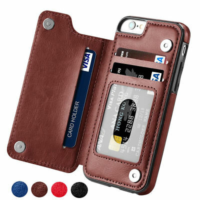 Leather Flip Wallet Card Holder Case Cover For iPhone 6 7 8 Plus Samsung S7 S10+