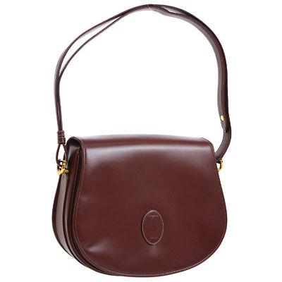 CARTIER Must De Cartier Shoulder Bag Bordeaux Leather Vintage France S08255k