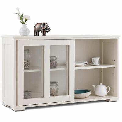 Storage Cabinet Sideboard Buffet Cupboard Glass Sliding Door