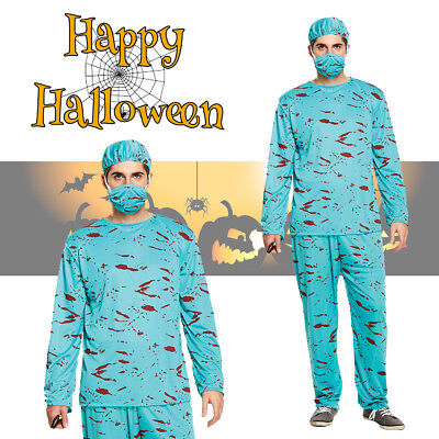 Mens Bloody Surgeon Nurse Halloween Costume Scary Zombie Doctor Fancy Dress (Scary Surgeon Costume)