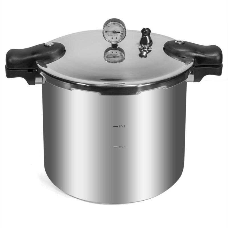 Pressure Canner Cooker w/ Pressure Dial Gauge Compatible with Rack 22-Quart