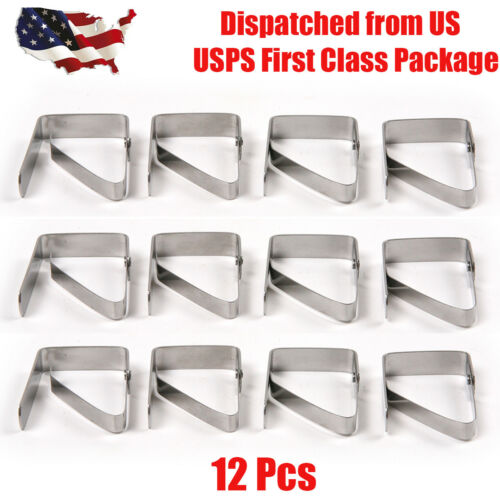 12pcs stainless steel tablecloth table cover clips