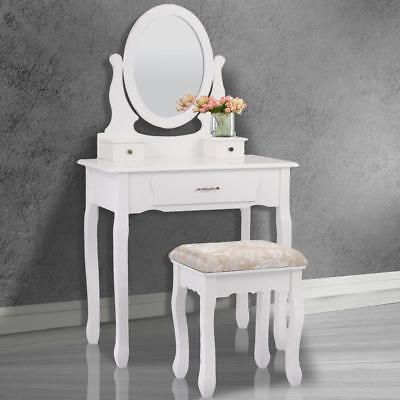 Vanity Makeup Dressing Table Set Jewelry Oval Mirror Desk Stool w/ 3 Drawers