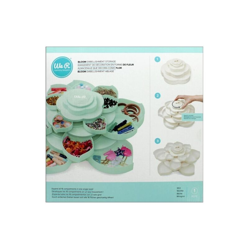 American Crafts We R Memory Keepers Bloom 3-Tiered Embellishment Storage - Mint