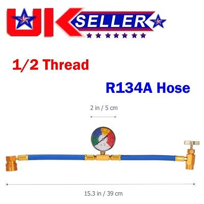 Universal R134A Car Air Conditioning Refrigerant Charging Hose Pipe With Gauge