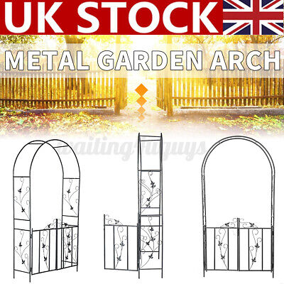 Metal Garden Arch Gate Wedding Archway Plant Trellis Rose Climbing Decor Patio