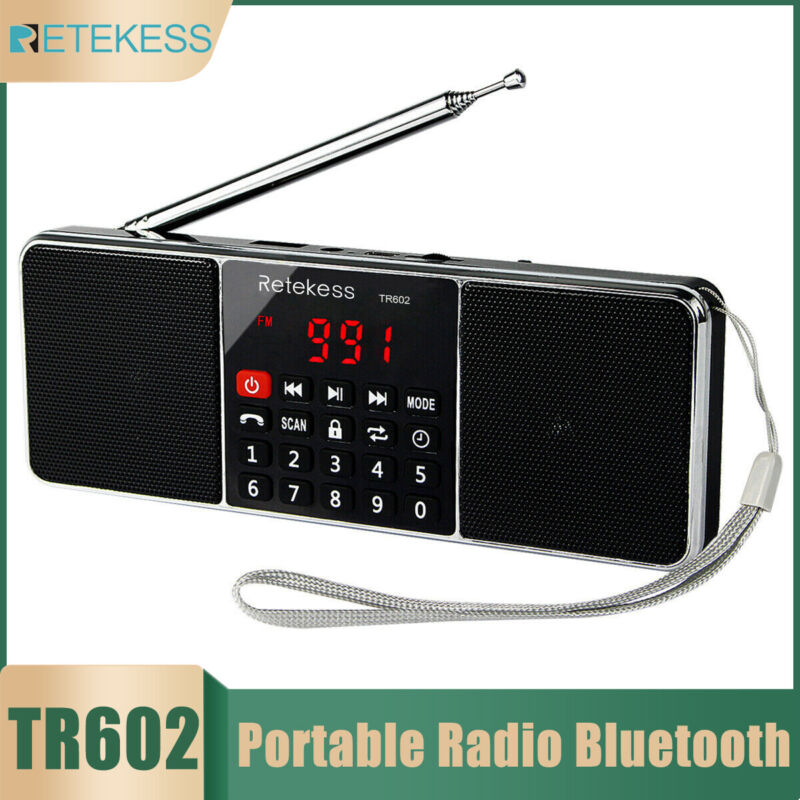 Portable FM/AM Radio Stereo Bluetooth Bass Multimedia Speaker Rechargeable Gift
