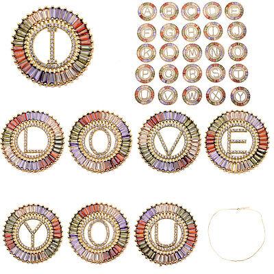 18K Colorful CZ Zircon Letter Beads Diy Bracelets Necklace Charm Pendant Jewelry
