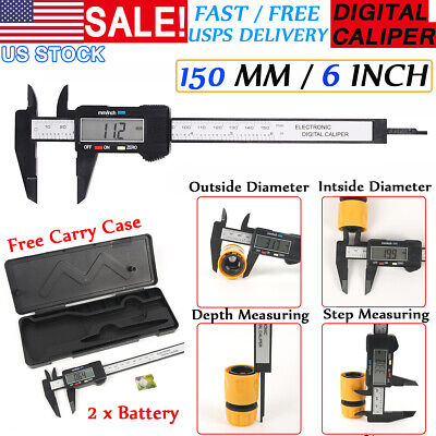 6 150mm Electronic Carbin Fiber Lcd Digital Vernier Caliper Micrometer Gauge Us