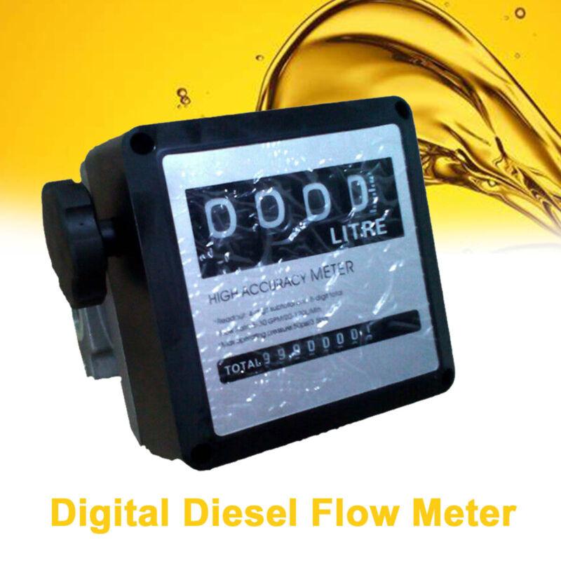 """Flow Meter 4 Digital Diesel Gasoline Fuel Petrol Oil Meter Counter 1"""" Inlet"""