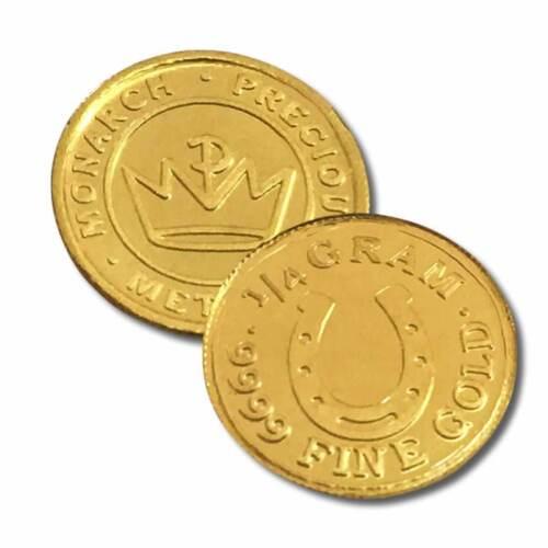 1 - 1/4 Gram .9999 Fine Gold Round in a Capsule - Horseshoe  Design - BU-Monarch