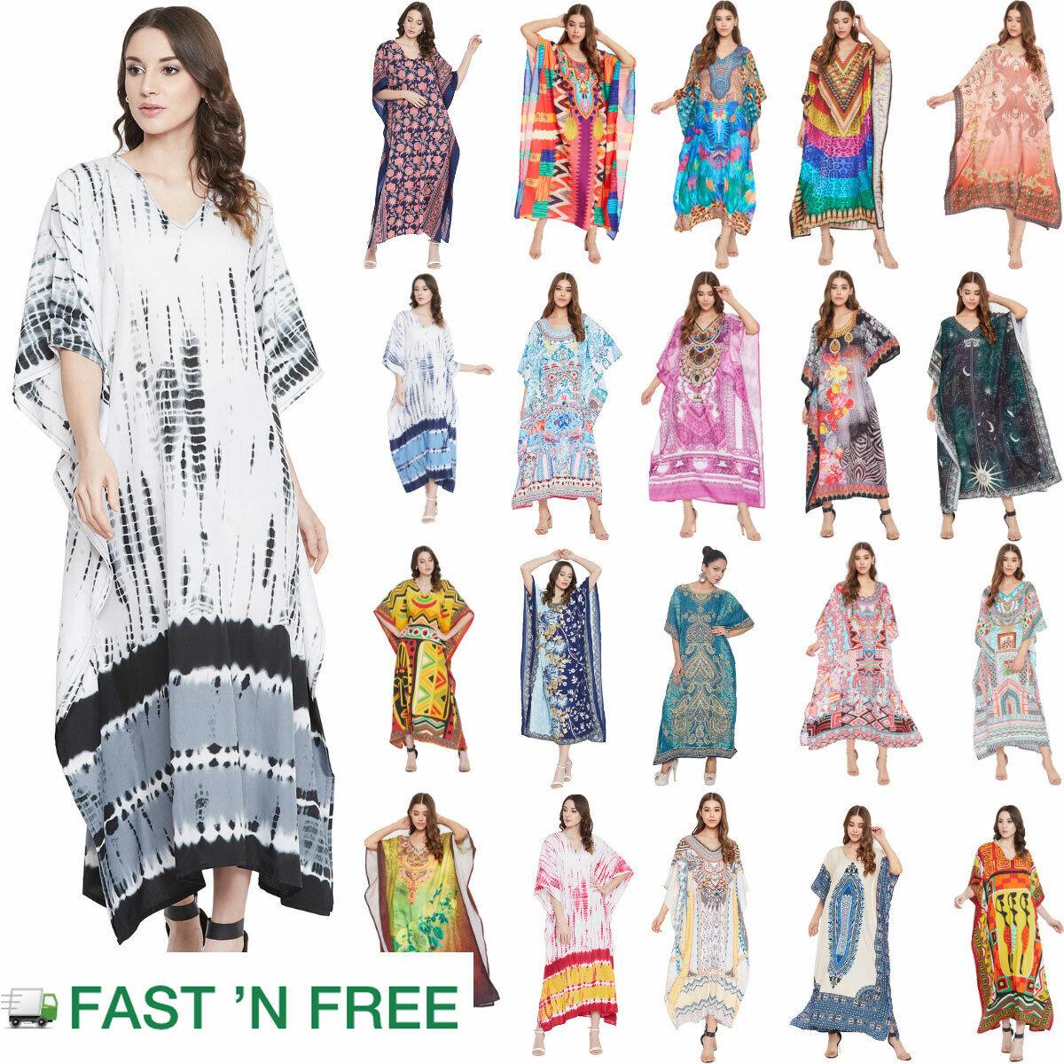 Women Boho Kaftan Kimono Maxi Dress Beach Holiday Plus Size Loose Long Sundress