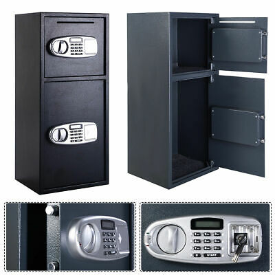 Digital Drop Depository Safe - Double Door Digital Safe Depository Drop Box Safes Cash Office Security Lock