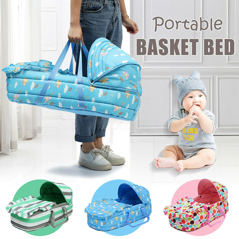 Baby Moses Basket Safe Newborn Travel Bed Bassinet Carrier Cradle With Hood Cute