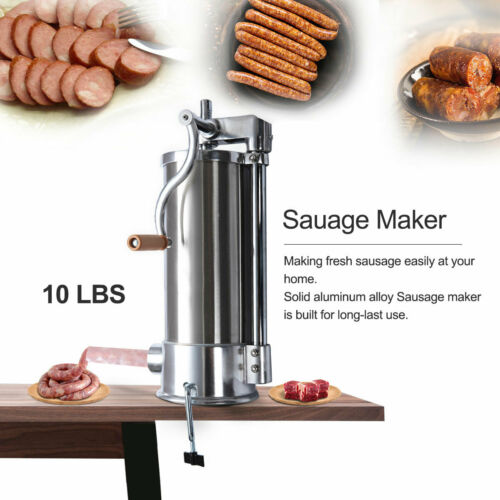 10 LBS Sausage Stuffer Maker Meat Filler Stainless Steel Commercial Restaurant