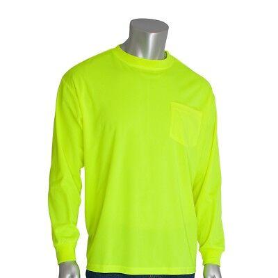 PIP Non-ANSI Long Sleeve Safety Shirt, Hi-Viz Yellow/Lime