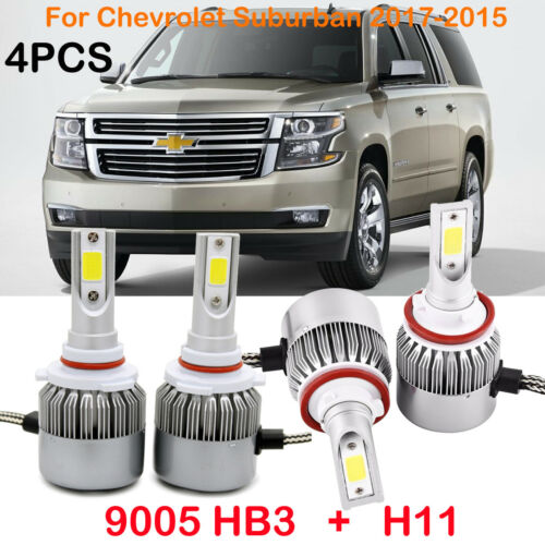 H11 9005 HB3 LED Headlight Kit Bulbs For Chevrolet Suburban 2017-2015 Hi/Lo Beam