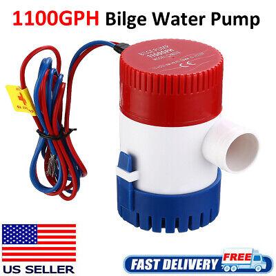 1100 GPH 12V Marine Boat Bilge Water Pump Submersible for Yacht RV SPA Pool USA
