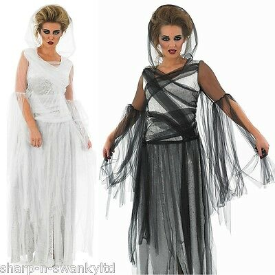 Ladies Long Length Ghost Dead Bride Halloween Fancy Dress Costume 8-30 Plus Size
