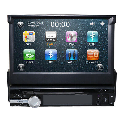 """Single 1DIN Flip-Out 7"""" Car Stereo DVD VCD Player GPS Map/US"""