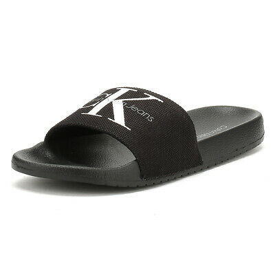 Calvin Klein Jeans Mens Black Viggo Slides Summer Flip Flops Beach Shoes