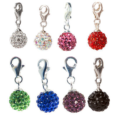 Charms Anhänger mit Kristall Kugel Glitzer 8 mm 925 Sterling Silber Charm Kristall Charms