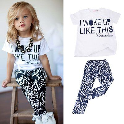 Toddler Kids Baby Girls Outfit Clothes T-shirt Tops+Long Pants Trousers 2PCS Set