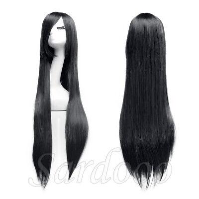 Langhaarperücke glattes Gerade Haar für Cosplay 100 cm - Gerade Schwarze Perücke