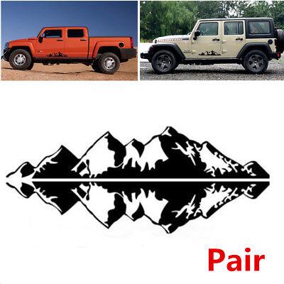 Art Design Pair Car SUV Mountain Range Graphic Vinyl Decals Stickers (Cobalt Cube Art)