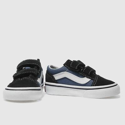 Kids Vans Old Skool V Shoes Navy Whit Strap Summer Fashion Canvas Trainer Size 2