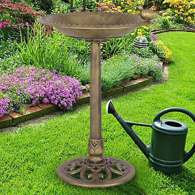 Antique Gold Freestanding Pedestal Bird Bath Feeder Outdoor