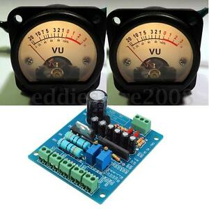 2pcs Panel VU Meter Warm Back Light Recording&Audio Level Amp with driver Module