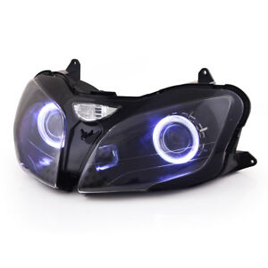 KT LED Angel Eye HID Headlight Assembly for Kawasaki Ninja ZX9R 2000 01 02 2003
