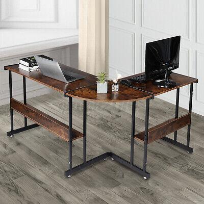 L Shaped Computer Desk Corner Computer Gaming Laptop Table With Storage Shelf