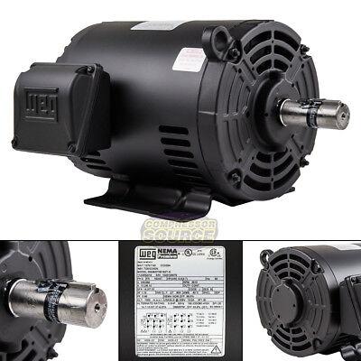 5 HP 3 Phase Air Compressor Duty Electric Motor 182/4T Frame 3510 RPM 3Ph WEG