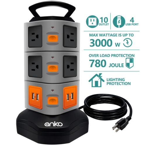 10 Outlet Surge Protector Power Strip With 4 USB Charger Ports 6 FT Cord Wire
