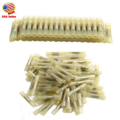 300x Insulated Heat Shrink Butt Wire Electric Crimp Terminal Connector 10-12awg