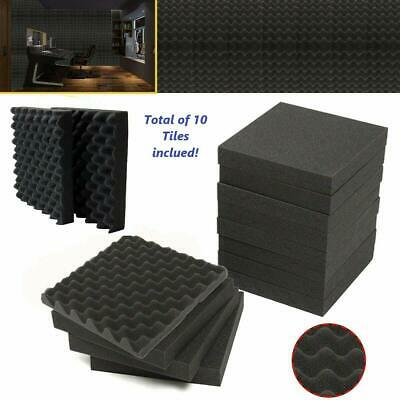 "10pk Premium Acoustic Foam Black Egg Panel Wall Tile Soundproofing 12""x12""x1.5"""