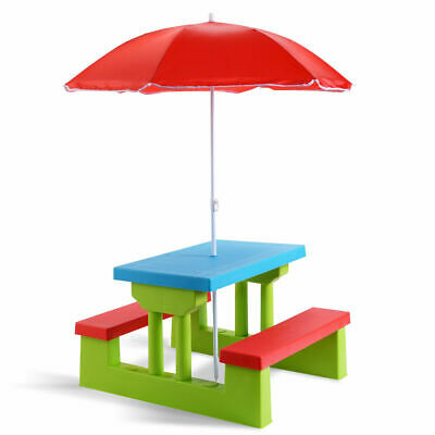 4 Seat Kids Picnic Table w/Umbrella Garden Yard Folding Chil