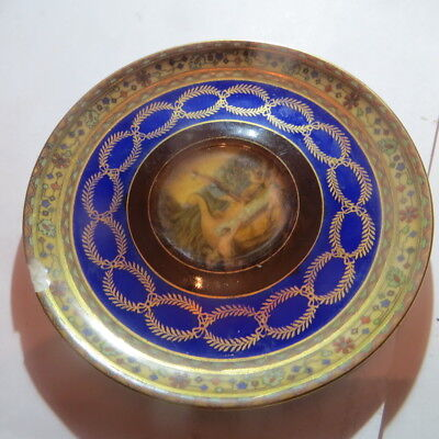 Assiette brune,bleue et or « Czekoslovakia Fine work » avec 1 drakkar – 1 éclat