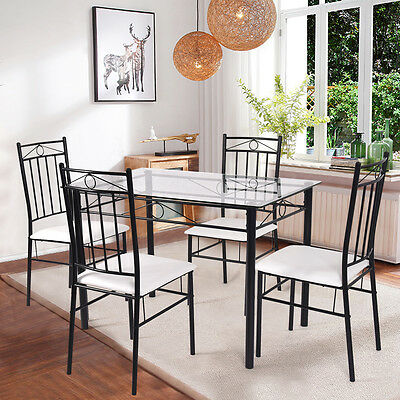 سفرة جديد 5 Piece Dining Set Glass Metal Table and 4 Chairs Kitchen Breakfast Furniture