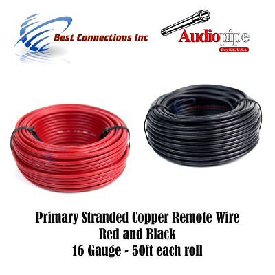 16 GAUGE WIRE RED & BLACK POWER GROUND 50 FT EACH PRIMARY STRANDED COPPER CLAD