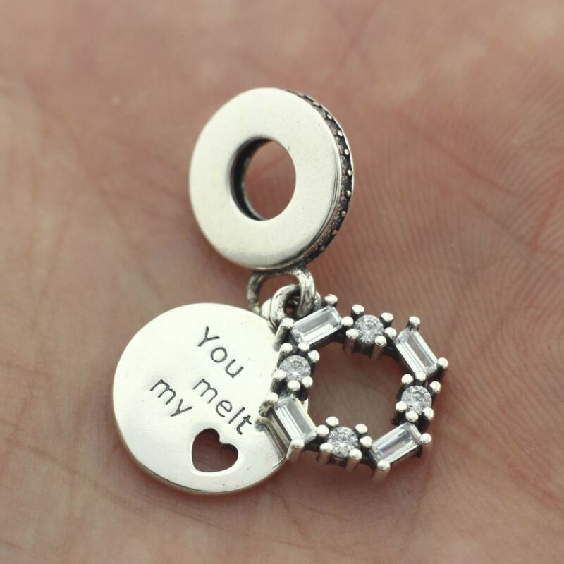71256887d 925 Sterling Silver Ice Carving Dangle Charm CZ You Melt My Heart Christmas  2018