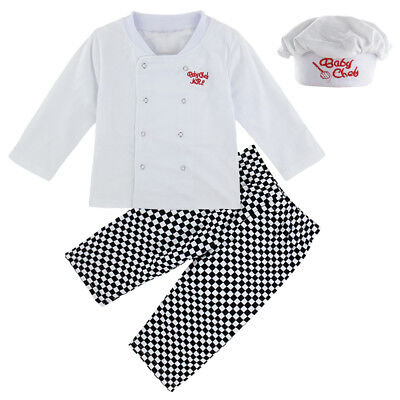 Newborn Baby Boy Costumes (Baby Boy Chef Costume Newborn Uniform 3Pcs Outfits Infant Cook Playsuit with)